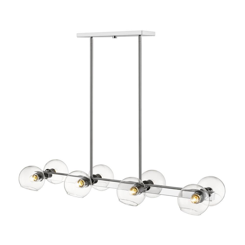 Filament Design Marsala 8-Light Chrome Pendant with Clear Glass Shade