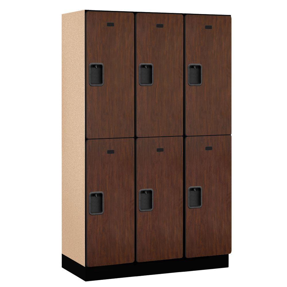 22000 Series 2-Tier Wood Extra Wide Designer Locker in Mahogany - 15 in. W x 76 in. H x 18 in. D (Set of 3)