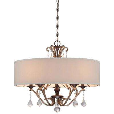 Gwendolyn Place 5-Light Dark Rubbed Sienna with Aged Silver Pendant