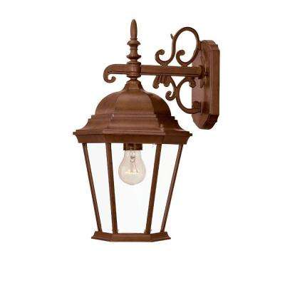 Richmond Collection 1-Light Burled Walnut Outdoor Wall-Mount Light Fixture