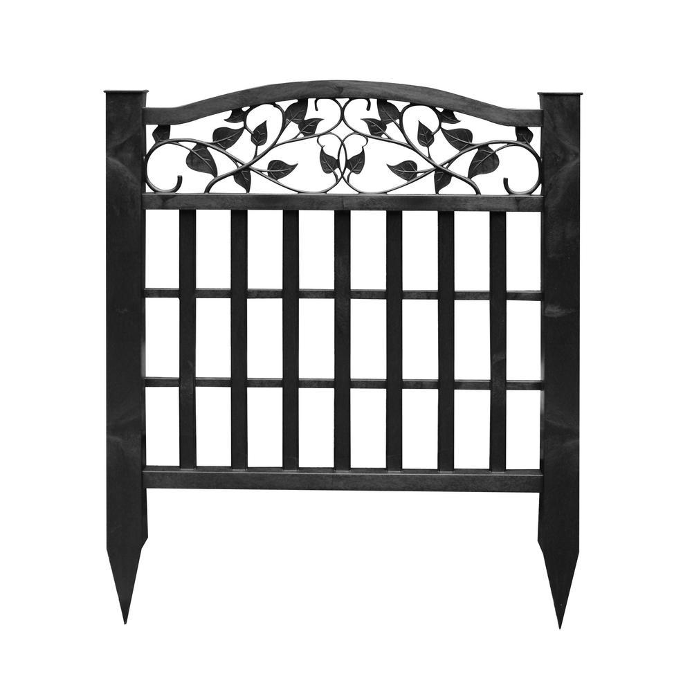 3.2 ft. x 2.68 ft. Black Vinyl Decorative Ivy Screen Fence Panel
