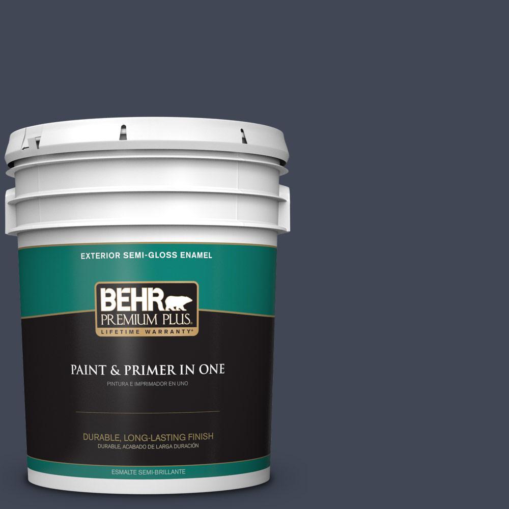 5 gal. #PPU14-20 Starless Night Semi-Gloss Enamel Exterior Paint