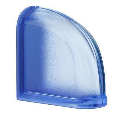 Blueberry 5.75 in. x 5.75 in. x 3.15 in. Classic Blue End Curved Glass Block
