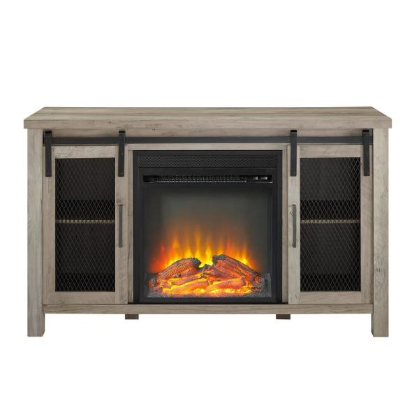 Walker Edison Furniture Company 48 in. Grey Wash Rustic Farmhouse Fireplace