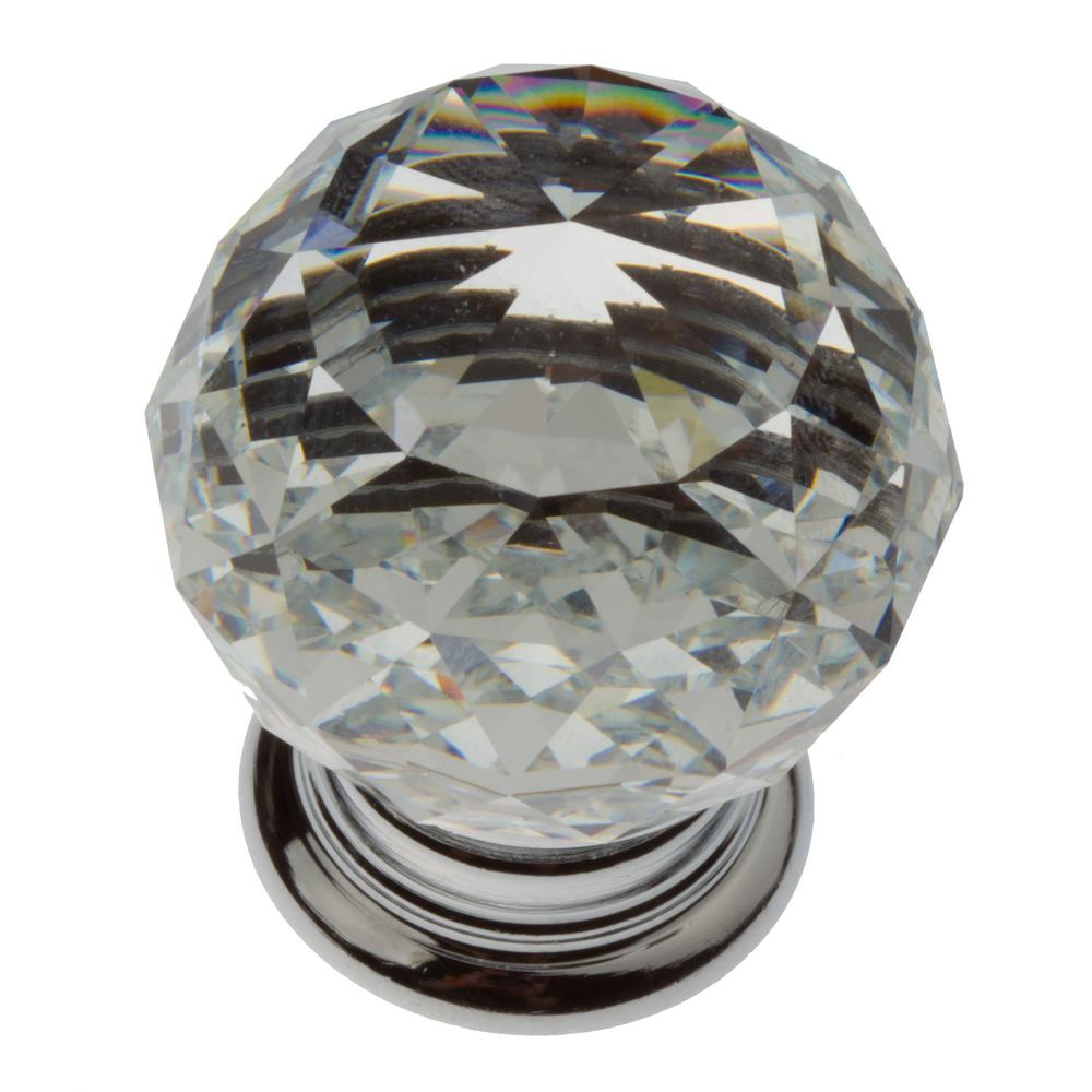 1-1/4 in. Clear Small K9 Crystal with Polished Chrome Base Cabinet