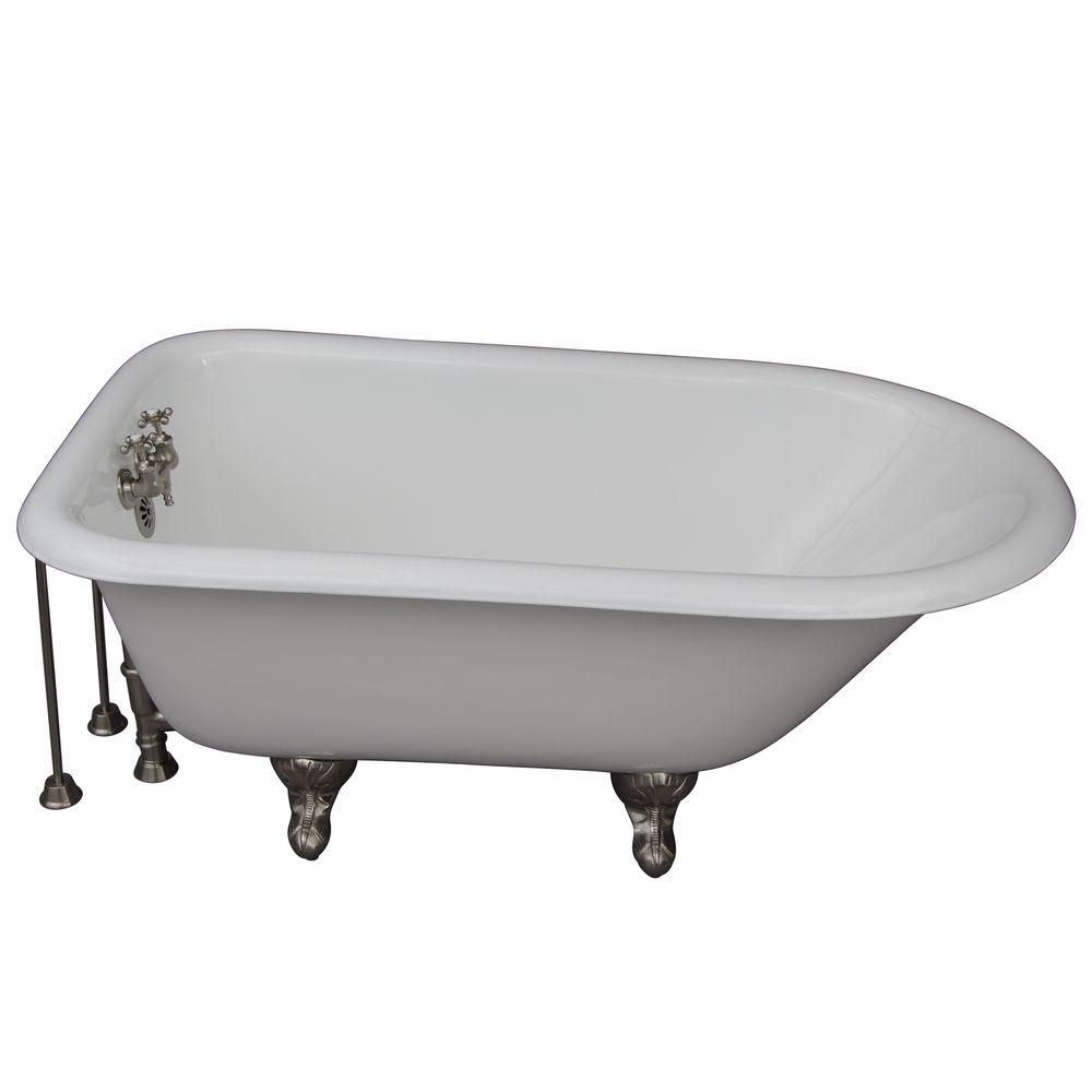 Barclay Products 4.5 ft. Cast Iron Ball and Claw Feet Roll Top Tub in White with Brushed Nickel Accessories