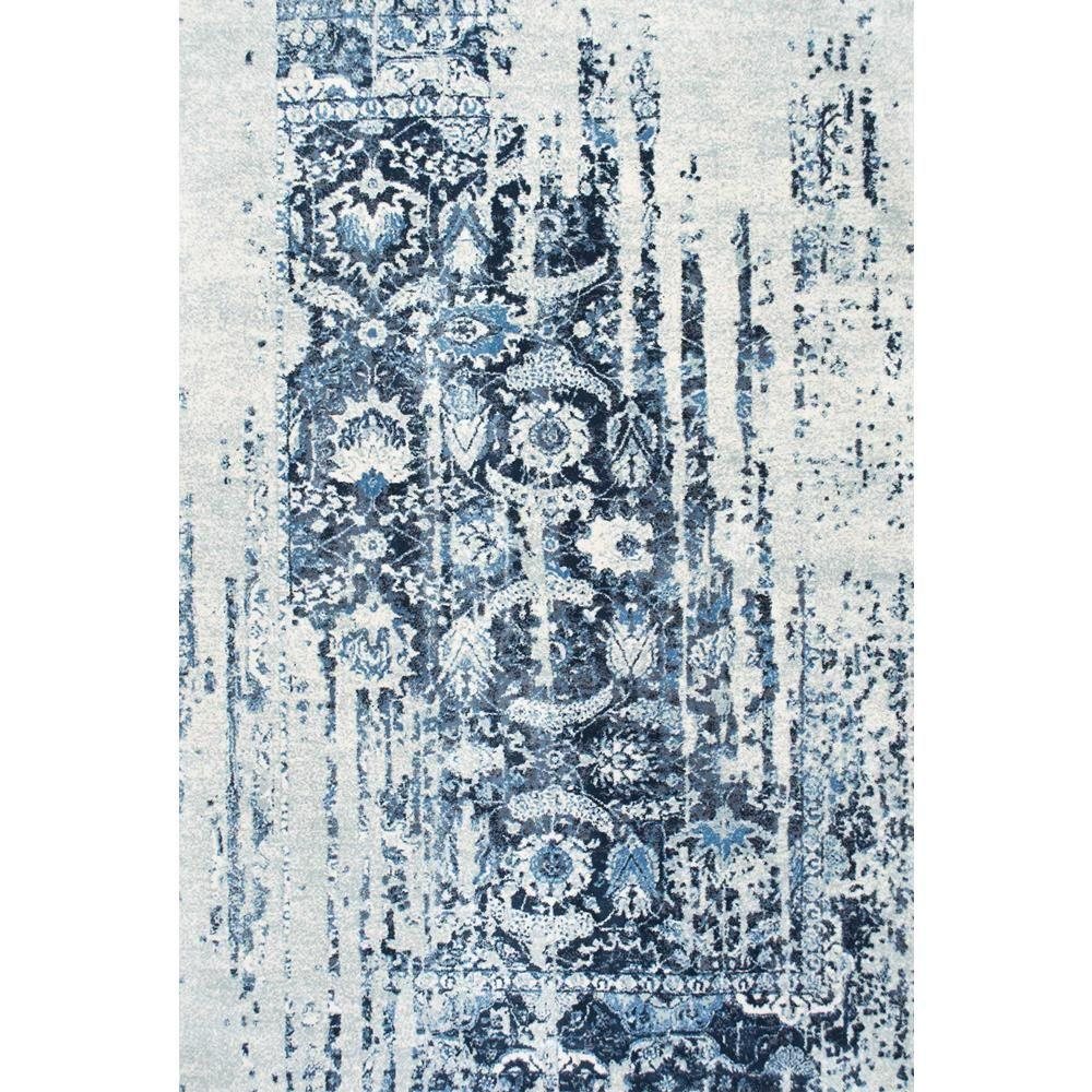 NuLOOM Distressed Ernestina Flourish Blue 7 Ft. 6 In. X 9