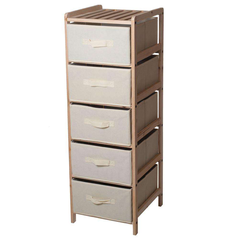 Lavish Home 5 Drawer Organization Wood Fabric Unit With Shelf Top