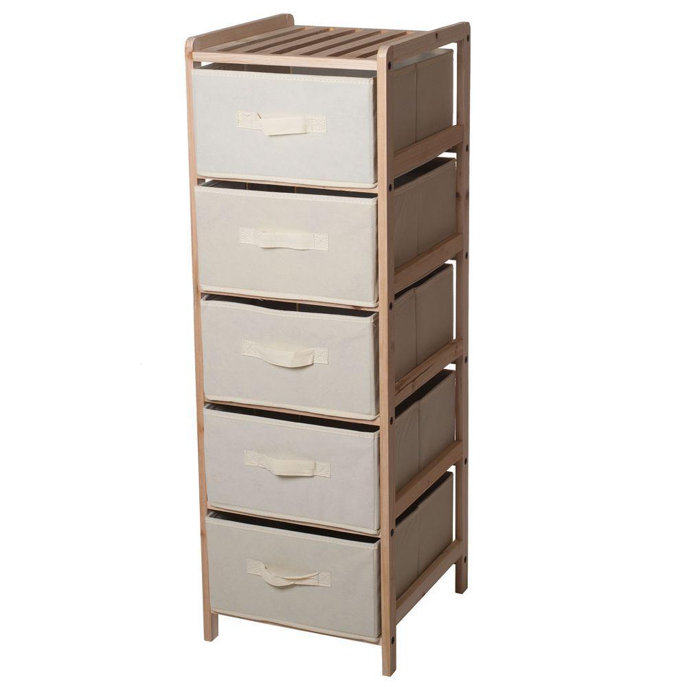 5-Drawer Organization Wood Fabric Unit with Shelf Top