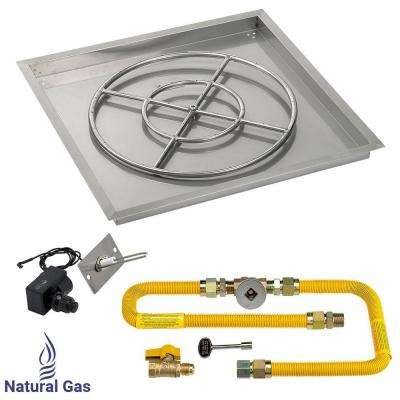 30 in. High-Capacity Stainless Steel Drop-In Pan with Spark Ignition Kit (24 in. Fire Pit Ring) Natural Gas