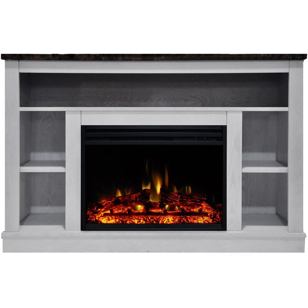 Electric Fireplace Heater Tv Stand In White With Enhanced Log Display