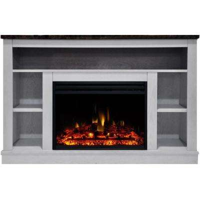 Seville 47 in. Electric Fireplace Heater TV Stand in White with Enhanced Log Display and Remote Control