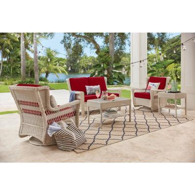 Park Meadows Off-White Wicker Outdoor Patio Swivel Rocking Lounge Chair with CushionGuard Chili Red Cushions