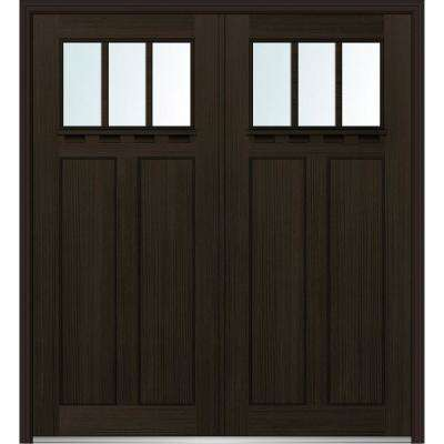 64 in. x 80 in. Shaker Right-Hand Inswing 3-Lite Clear Low-E Stained Fiberglass Fir Prehung Front Door with Shelf