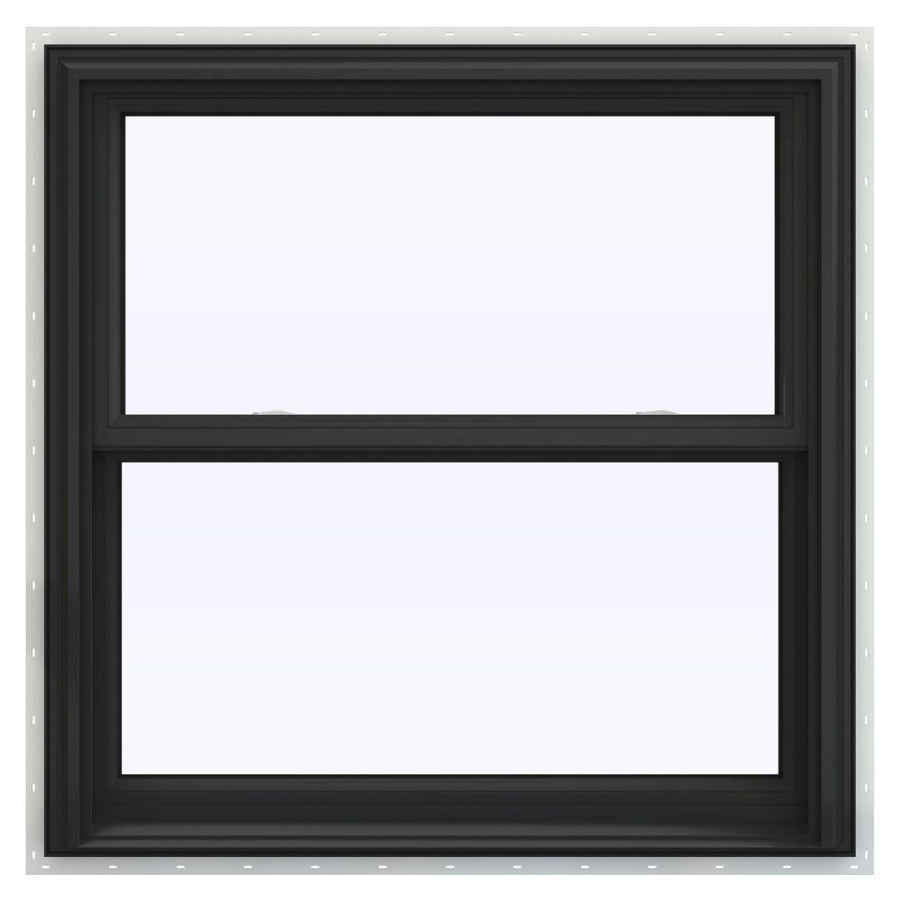 Jeld wen 35 5 in x 35 5 in v 2500 series bronze painted for Best double hung windows reviews
