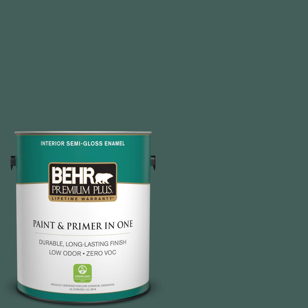 1-gal. #BIC-54 Vert Pierre Semi-Gloss Enamel Interior Paint