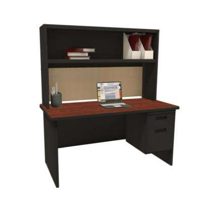 Black and Mahogany Windblown 60 in. Single File Desk with Storage Shelf