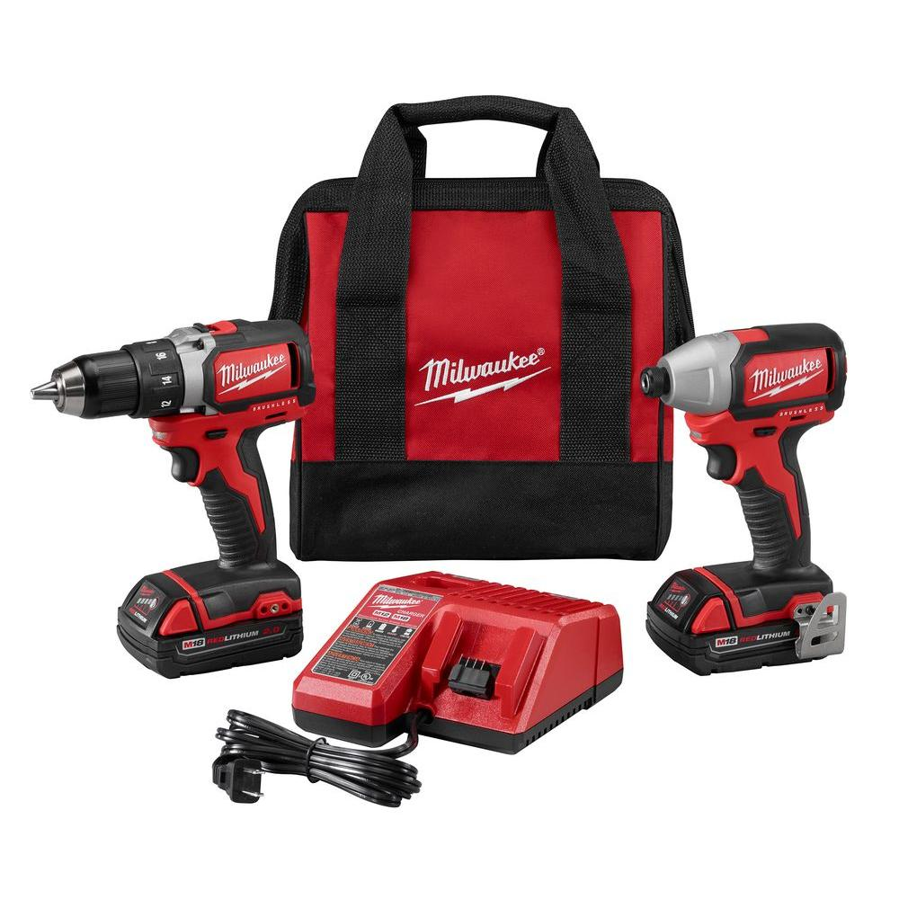 Milwaukee M18 18-Volt Lithium-Ion Cordless Compact Brushless Drill/Impact Combo Kit (2-Tool) w/(2) 2.0Ah Batteries, Charger, Bag