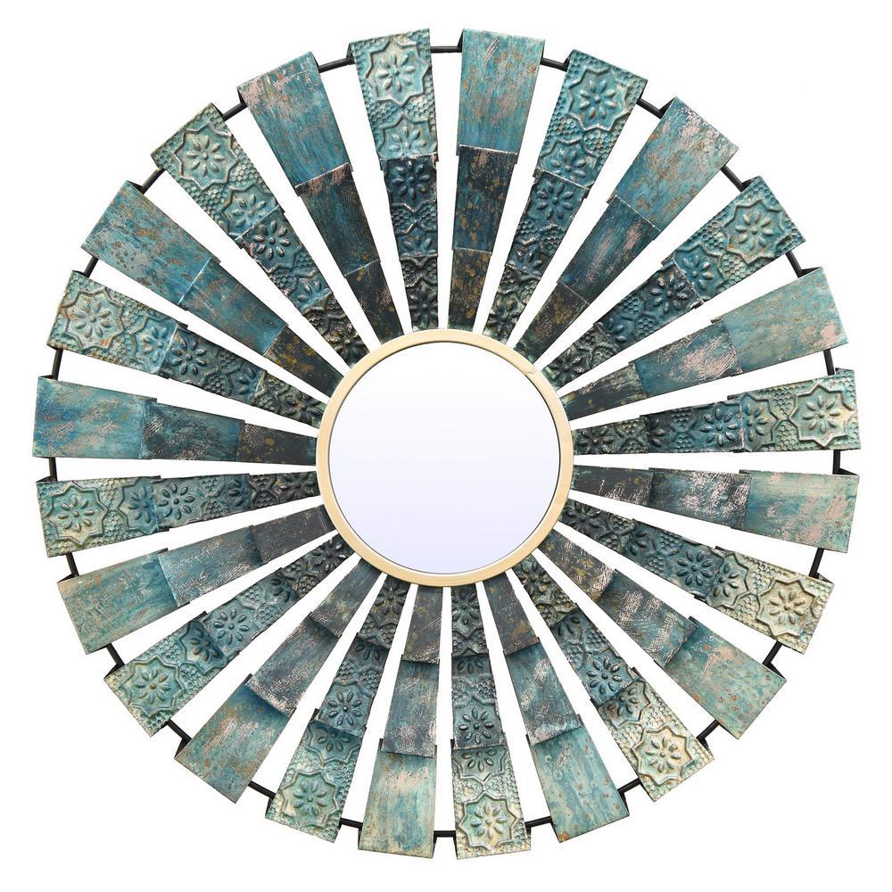 Blues Circular Fan Metal Decorative Mirror