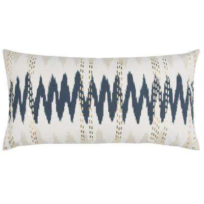 Sound Wave Patterning 14 in. x 26 in. Natural Decorative Filled Pillow