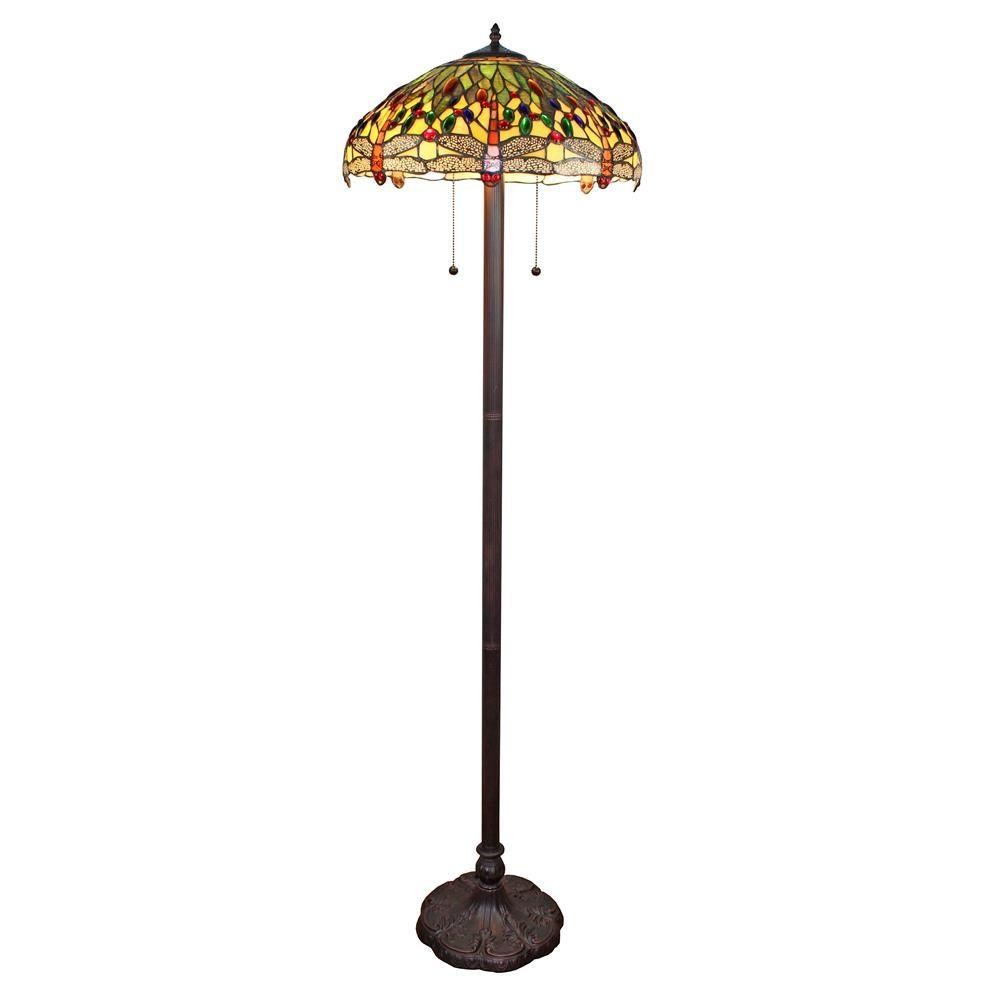 Amora Lighting 62 in. Tiffany Style Dragonfly Floor Lamp