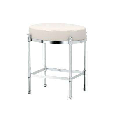 Oval 19.5 in. Vanity Stool in Chrome