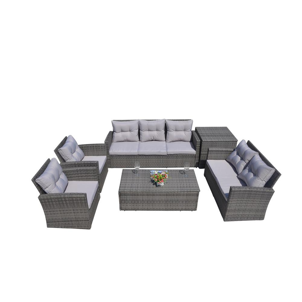 Direct Wicker Martinka 6 Piece Patio Grey Wicker Outdoor Sectional
