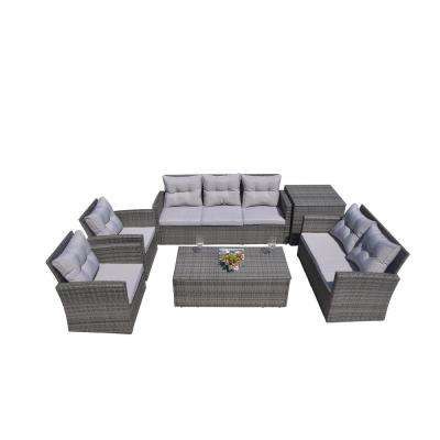 Martinka 6-Piece Patio Grey Wicker Outdoor Sectional Sofa Set with Grey Cushion