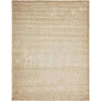 Solid Shag Beige 12 ft. 3 in. x 15 ft. 7 in. Area Rug
