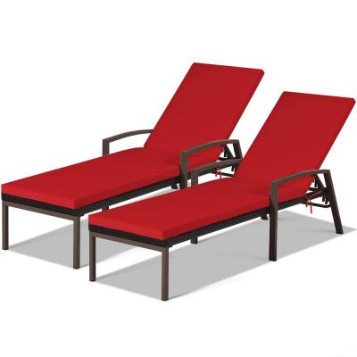 Adjustable Height Rattan Chaise Recliner Patio Lounge Chair with Red Cushions (2-Piece)