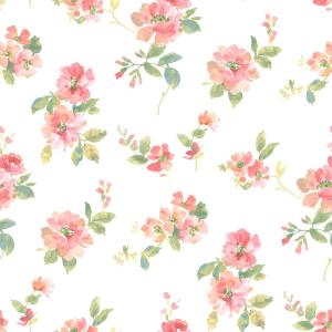 Chesapeake Captiva Peach Watercolor Floral Wallpaper