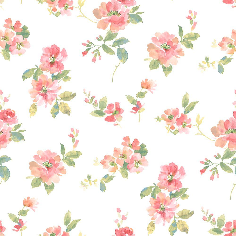 Chesapeake Captiva Peach Watercolor Floral Wallpaper Sample
