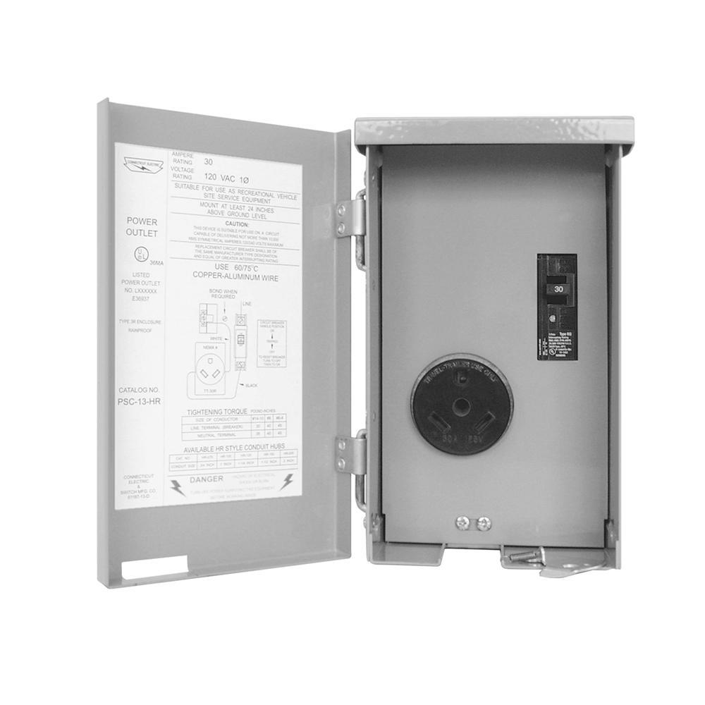 Connecticut Electric CESMPS13HR 30-Amps//120-Volt RV Power Outlet