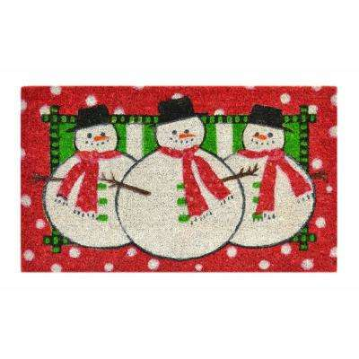 Stenciled Mat Three Snowmen 18 in. x 30 in. Coir Door Mat