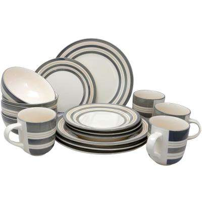 Studio California Sunset Stripes 16-Piece GreyDinnerware Set
