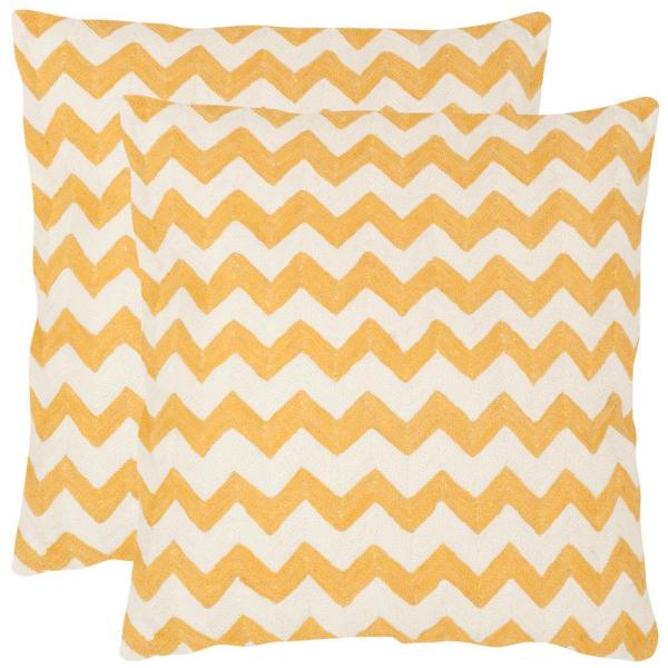 Tealea Mustard Striped Down Alternative 18 in. x 18 in. Throw Pillow (Set of 2)