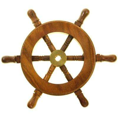 Decorative Wooden Ship Wheel Wall Art of Wood and Brass