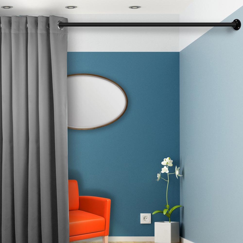 Black RUDI 1 Adjustable 66-115 inch Room Divider Rod with Socket Set
