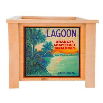 15 in. x 15 in. Deluxe Cedar Planter Box with Lagoon Art