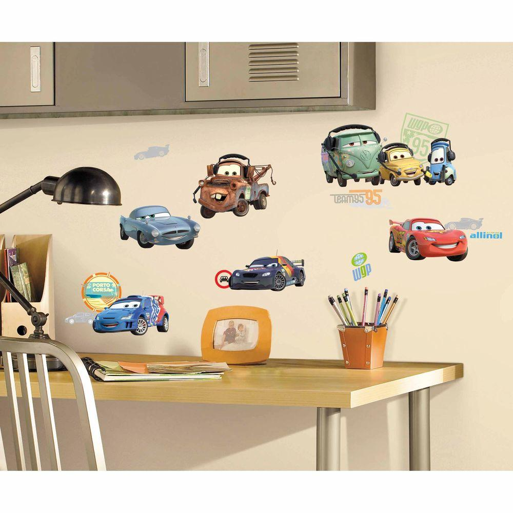 roommates cars 2 peel and stick wall decals rmk1583scs the home depot