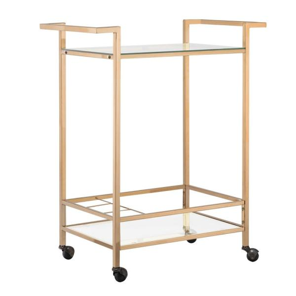 Carolina Cottage Forma Gold Wine Cart with Casters