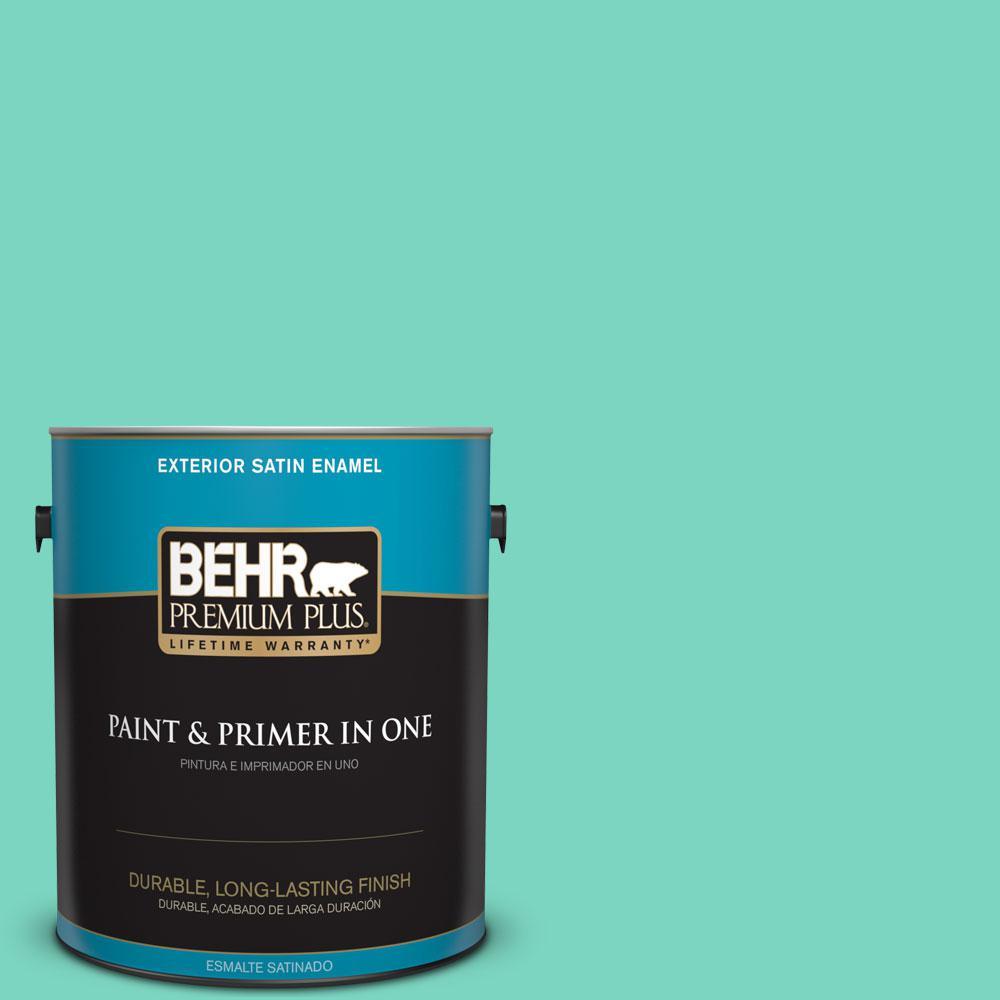 BEHR Premium Plus 1-gal. #P430-3 Green Parakeet Satin Enamel Exterior Paint