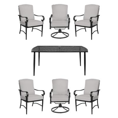 Oak Cliff 7-Piece Brown Steel Outdoor Dining Set w/4 Stationary & 2 Swivel Chairs & CushionGuard Stone Gray Cushions
