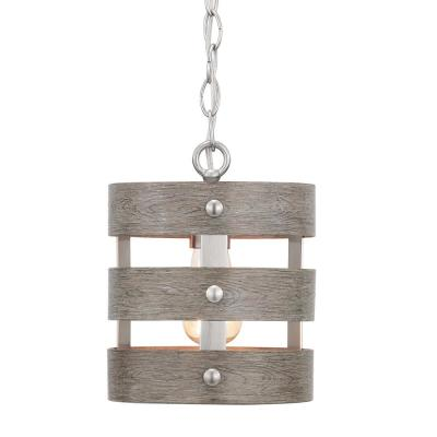 Gulliver 1-Light Brushed Nickel Mini-Pendant with Weathered Gray Wood Accents