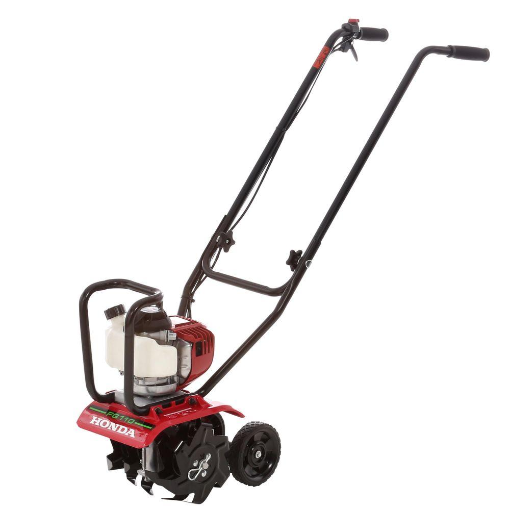 Honda 9 In 25 Cc 4 Cycle Middle Tine Forward Rotating Gas Mini Tiller Cultivator Fg110 The Home Depot