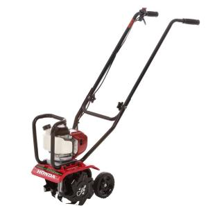 Click here to buy Honda 9 inch 25 cc 4-Cycle Middle Tine Forward-Rotating Gas Mini Tiller-Cultivator by Honda.