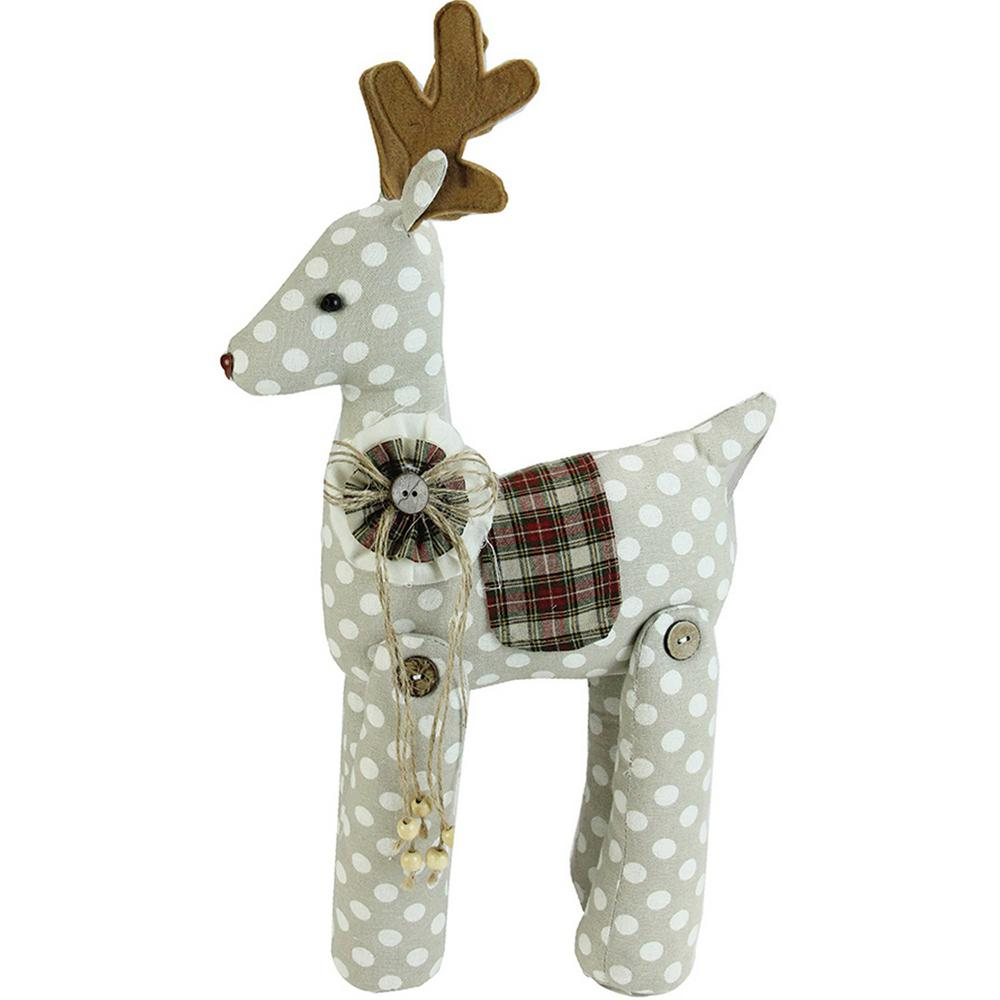 20 in. Brown and White Polka Dot Reindeer Christmas Decoration