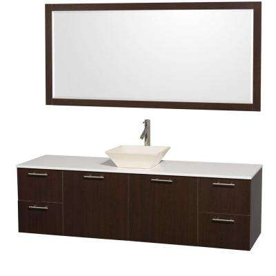 Amare 72 in. Vanity in Espresso with Man-Made Stone Vanity Top in White and Bone Porcelain Sink