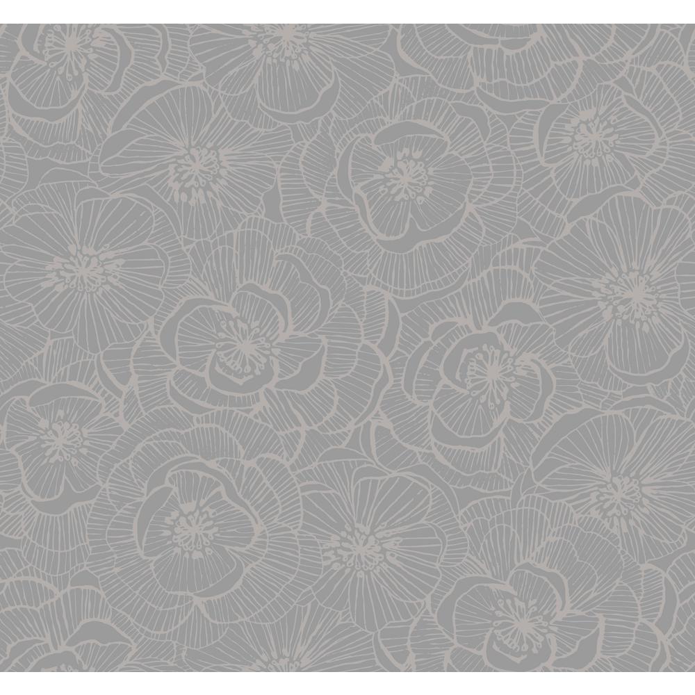Seabrook Designs Jardine Graphic Metallic Silver Floral Wallpaper