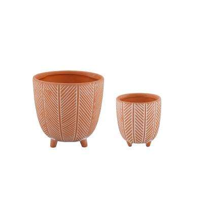 6 in. x 4 in. Terracotta Orange Chevron Ceramic Footed Pot (Set of 2)